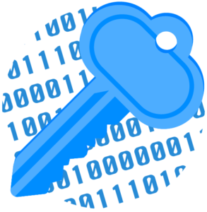 Key floating over binary code